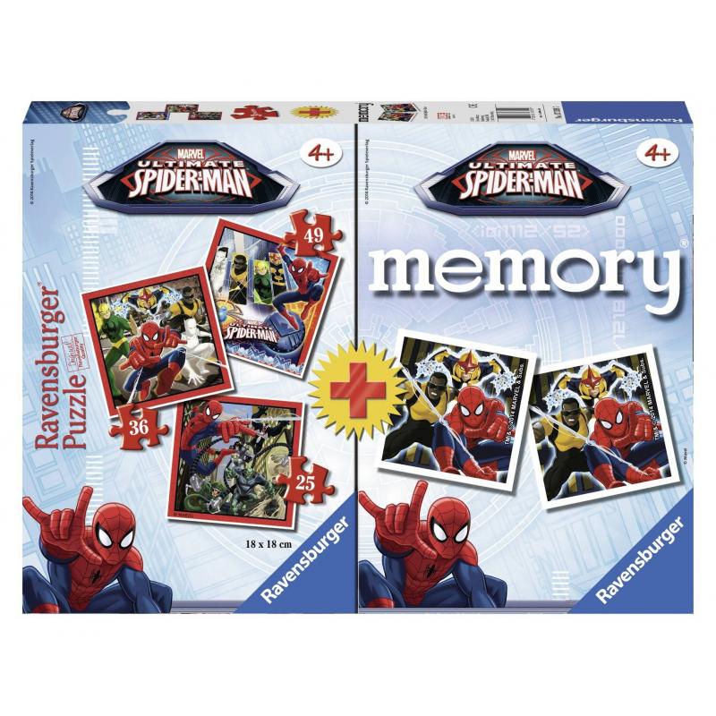 RAVENSBURGER Пазл + Мемори Человек-паук 110 деталей пазлы magic pazle объемный 3d пазл эйфелева башня 78x38x35 см