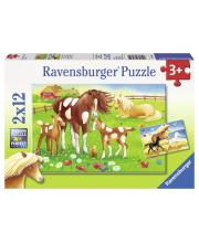 Пазл Красивые лошадки 2 шт по 12 деталей RAVENSBURGER