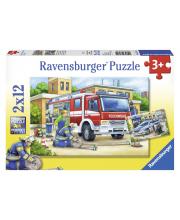 Пазл Полицейские и пожарные 2 шт по 12 деталей RAVENSBURGER