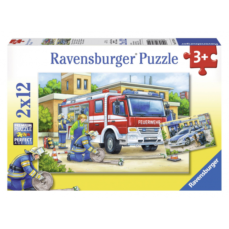 Пазл Полицейские и пожарные 2 штПазл Полицейские и пожарные 2 шт. марки Ravensburger для мальчиков.<br>В набор входит 2 пазла по 12элементов.<br>Размер картинки: 26х18 см.<br><br>Возраст от: 3 года<br>Пол: Для мальчика<br>Артикул: 653683<br>Бренд: Германия<br>Размер: от 3 лет