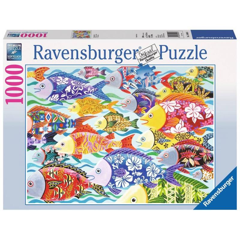 Пазл Гавайские рыбы 1000 деталейПазл Гавайские рыбы марки Ravensburger.<br>Яркий пазл из 1000 элементов с изображением разноцветных рыбок с узорами.<br>Размер картинки: 70х50 см.<br><br>Возраст от: 14 лет<br>Пол: Не указан<br>Артикул: 653989<br>Бренд: Германия<br>Размер: от 14 лет<br>Количество деталей: от 501 до 1000<br>Тематика: Необычные мотивы