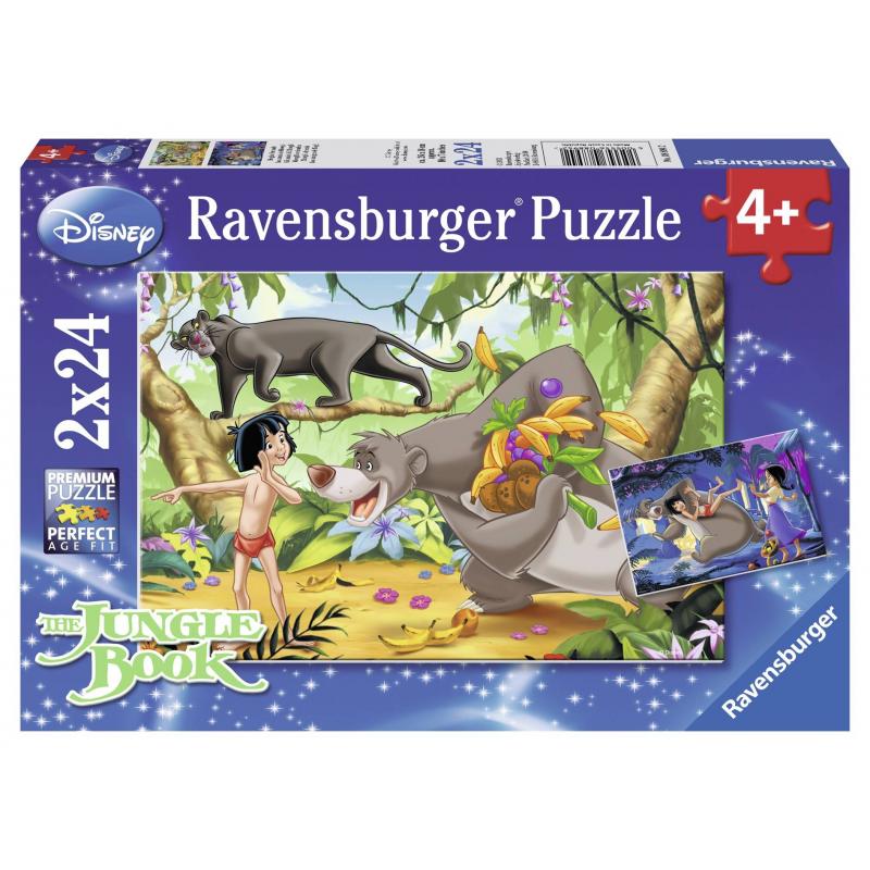 Пазл Маугли и друзья 2 штПазл Маугли и друзья 2 шт. марки Ravensburger.<br>В набор входит 2 пазла по 24элемента.<br>Размер картинки: 26х18 см.<br><br>Возраст от: 4 года<br>Пол: Не указан<br>Артикул: 653704<br>Бренд: Германия<br>Лицензия: Disney<br>Размер: от 4 лет