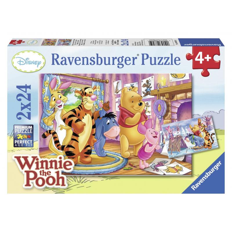 Пазл Пятачок и его друзья 2 штПазл Пятачок и его друзья 2 шт. марки Ravensburger.<br>В набор входит 2 пазла по 24элемента.<br>Размер картинки: 26х18 см.<br><br>Возраст от: 4 года<br>Пол: Не указан<br>Артикул: 653705<br>Бренд: Германия<br>Лицензия: Disney<br>Размер: от 4 лет