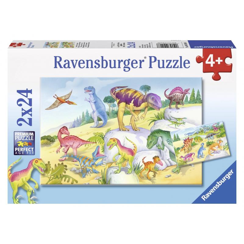 RAVENSBURGER Пазл Красочные динозавры 2 шт по 24 детали набор мини динозавры и пазл schleich набор мини динозавры и пазл