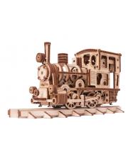 Механическая сборная модель Паровозик с рельсами Wood Trick