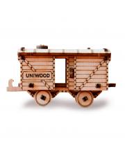 Деревянный конструктор Товарный вагон UNIWOOD