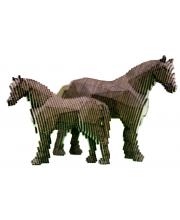 Деревянный конструктор Лошадь с жеребенком с набором карандашей UNIWOOD