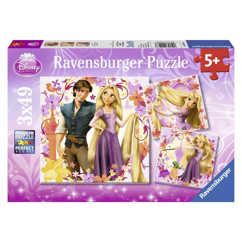 Пазл Рапунцель 3 штПазл Рапунцель3шт. марки Ravensburger для девочек.<br>В набор входит 3пазла по 49элементов.<br>Размер картинки: 18х18 см.<br><br>Возраст от: 5 лет<br>Пол: Для девочки<br>Артикул: 653741<br>Бренд: Германия<br>Лицензия: Disney<br>Размер: от 5 лет