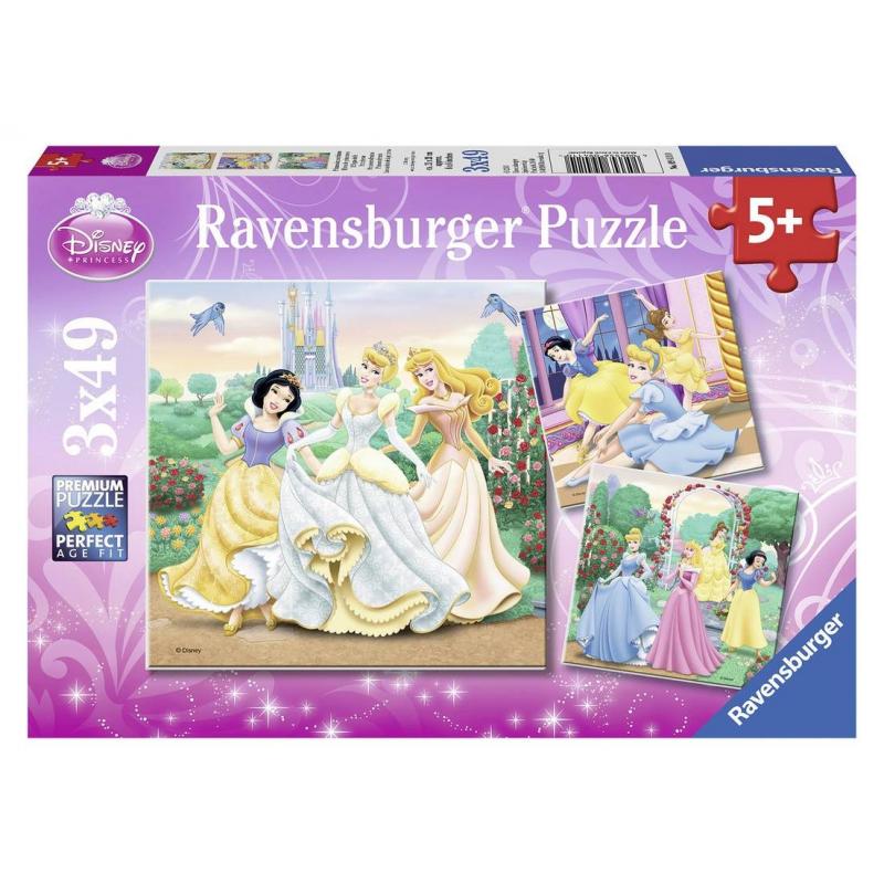 Пазл Прекрасные принцессы 3 шт по 49 деталей