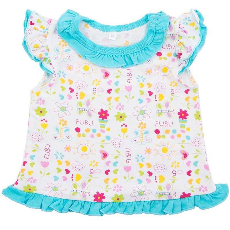 ФутболкаФутболка голубогоцвета маркиSoniKids для девочек.<br>Футболка с коротким рукавом выполнена из чистого хлопкаидекорирована рюшами, а такжелетнимпринтом с изображением бабочек и цветов.Модель дополнена рукавами-крылышкамии кнопками на плече для удобства переодевания малышки.<br><br>Размер: 2 года<br>Цвет: Голубой<br>Рост: 92<br>Пол: Для девочки<br>Артикул: 647984<br>Страна производитель: Россия<br>Сезон: Весна/Лето<br>Состав: 100% Хлопок<br>Бренд: Россия<br>Вид застежки: Кнопки