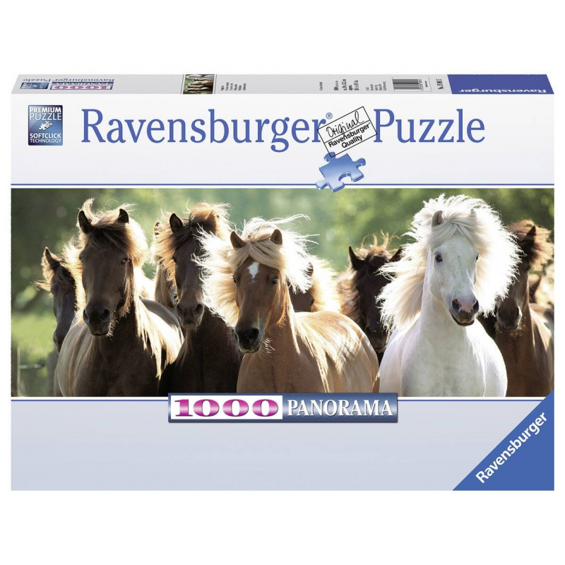 Пазл панорамный Дикие лошади 1000 деталейПазл панорамный Дикие лошади марки Ravensburger.<br>Яркий пазл из 1000 элементов с изображением скачущих лошадей.<br>Размер: 98х38 см.<br><br>Возраст от: 14 лет<br>Пол: Не указан<br>Артикул: 653888<br>Бренд: Германия<br>Размер: от 14 лет<br>Количество деталей: от 501 до 1000<br>Тематика: Животные