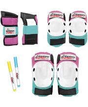 Комплект защиты Pink-Teal M 3 в 1 Wipeout