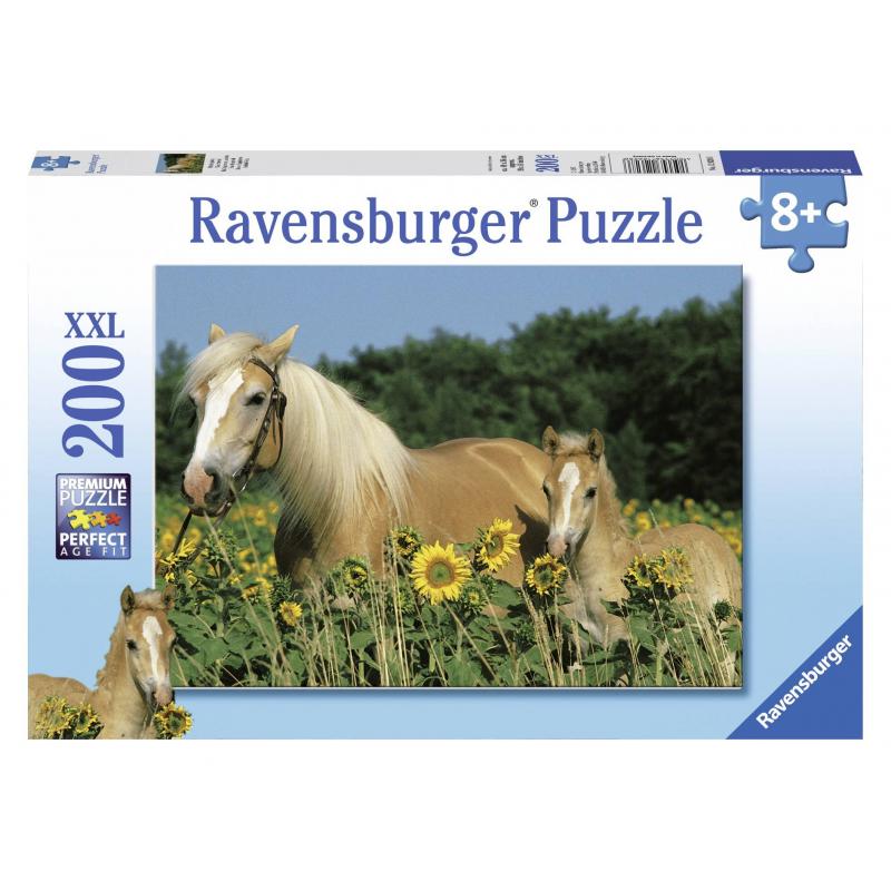 RAVENSBURGER Пазл Лошади в подсолнухах XXL 200 деталей пазл 200 элементов ravensburger мой первый питомец 12810