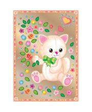 Набор для изготовления картины Котик с цветами Клевер Медиа Групп