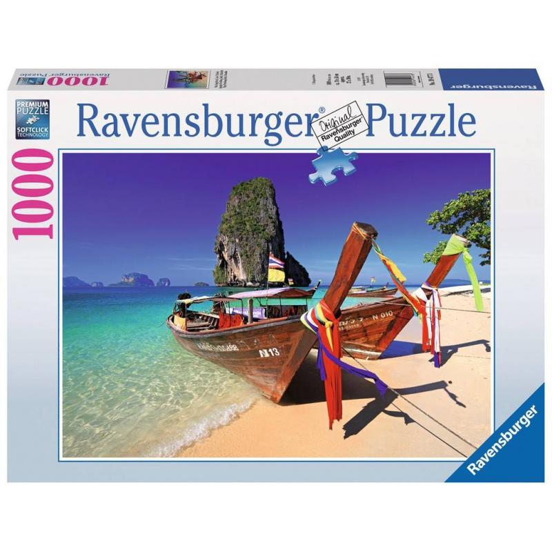 Пазл ТаиландПазл Таиланд марки Ravensburger.<br>Яркий пазл из 1000 элементовс изображением длиннохвостых лодок на пляже Тайланда.<br>Размер картинки: 70х50 см.<br><br>Возраст от: 14 лет<br>Пол: Не указан<br>Артикул: 654004<br>Бренд: Германия<br>Размер: от 14 лет