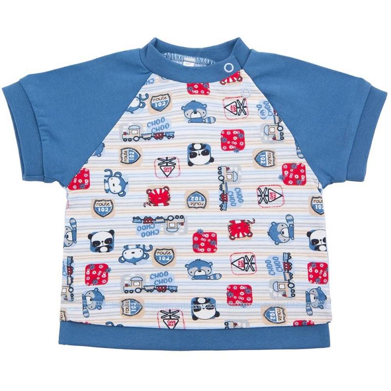 ФутболкаФутболкаголубогоцвета маркиSoniKids длямальчиков.<br>Футболка с коротким рукавом, выполненная из чистого хлопка, декорирована принтом с изображением поездов и забавных животных, а также украшена вставками синего цвета.Модель дополненакнопками для удобства переодевания малыша.<br><br>Размер: 6 месяцев<br>Цвет: Голубой<br>Рост: 68<br>Пол: Для мальчика<br>Артикул: 648003<br>Страна производитель: Россия<br>Сезон: Весна/Лето<br>Состав: 100% Хлопок<br>Бренд: Россия<br>Вид застежки: Кнопки