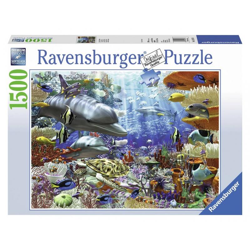 Пазл Подводный мирПазл Подводный мир марки Ravensburger.<br>Яркий пазл из 1500 элементовс изображением морских обитателей.<br>Размер:60х84 см.<br><br>Возраст от: 14 лет<br>Пол: Не указан<br>Артикул: 653915<br>Бренд: Германия<br>Размер: от 14 лет