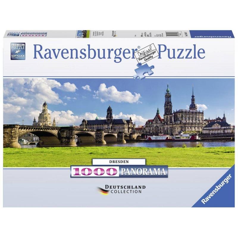Пазл Вид Каналетто Дрезден 1000 деталейПазл Вид Каналетто, Дрезден марки Ravensburger.<br>Яркий пазл из 1000 элементовс изображением Дрездена с правого берега Эльбы.<br>Размер картинки: 98х37см.<br><br>Возраст от: 14 лет<br>Пол: Не указан<br>Артикул: 654018<br>Бренд: Германия<br>Размер: от 14 лет<br>Количество деталей: от 501 до 1000<br>Тематика: Города