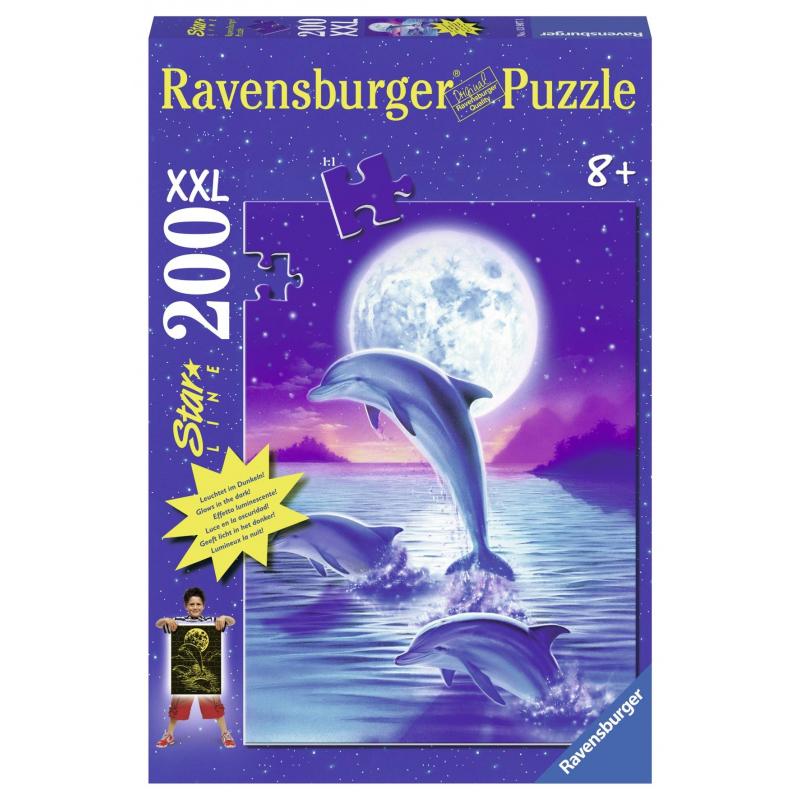 RAVENSBURGER Пазл светящийся Дельфины в лунном свете XXL 200 деталей