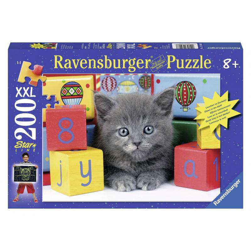 RAVENSBURGER Пазл светящийся Котенок с кубиками XXL 200 деталей пазл 200 котенок 17154