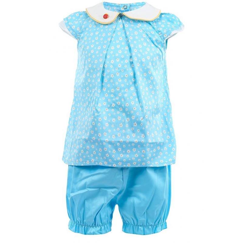 КомплектКомплект кофточка+шорты голубого цвета маркиSoniKids для девочек.<br>В комплект входят кофточкаишорты, выполненные из чистого хлопка. Хлопковая кофточка, выполненная из ткани сатин, декорирована цветочным принтом и рукавами-крылышками, а также дополнена кнопками на спинке для удобства переодевания малышки. Шортики-фонарики дополнены удобной эластичной резинкой.<br><br>Размер: 18 месяцев<br>Цвет: Голубой<br>Рост: 86<br>Пол: Для девочки<br>Артикул: 648097<br>Страна производитель: Россия<br>Сезон: Весна/Лето<br>Состав: 100% Хлопок<br>Бренд: Россия<br>Вид застежки: Кнопки