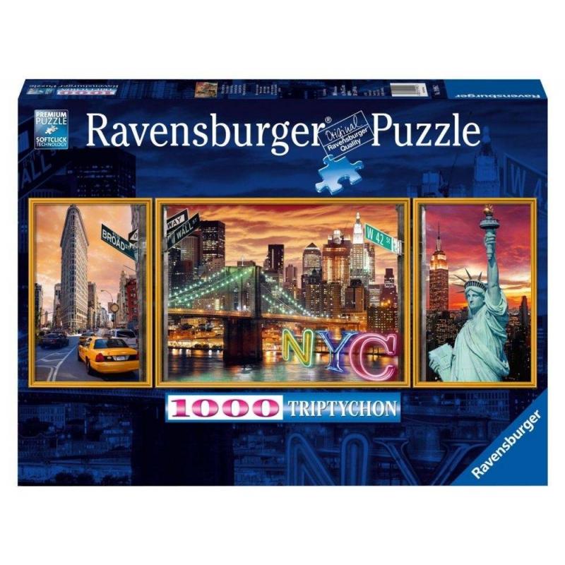 RAVENSBURGER Пазл-триптих Ослепительный Нью-Йорк 1000 деталей ravensburger маки тосканы пазл триптих 1000 элементов