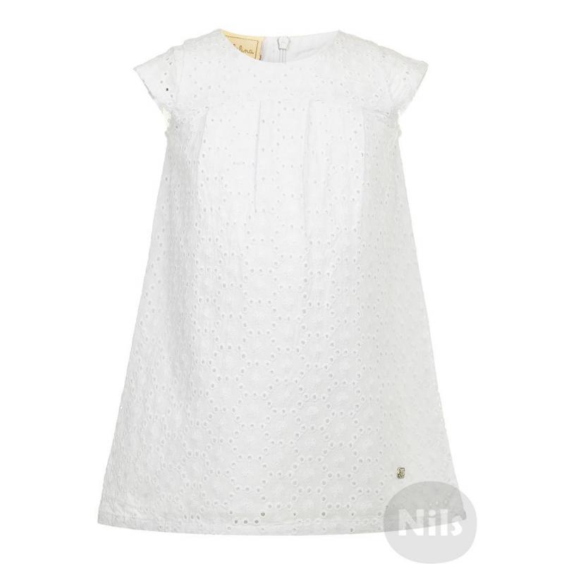 ПлатьеБелое платье с ажурным узором марки BIMBALINA. Легкое платье с короткими рукавами выполнено из стопроцентного хлопка и имеет тонкую хлопковую подкладку. Платье застегивается на потайную молнию на спинке.<br><br>Размер: 3 года<br>Цвет: Белый<br>Рост: 98<br>Пол: Для девочки<br>Артикул: 606381<br>Страна производитель: Китай<br>Сезон: Весна/Лето<br>Состав: 100% Хлопок<br>Состав подкладки: 100% Хлопок<br>Бренд: Испания