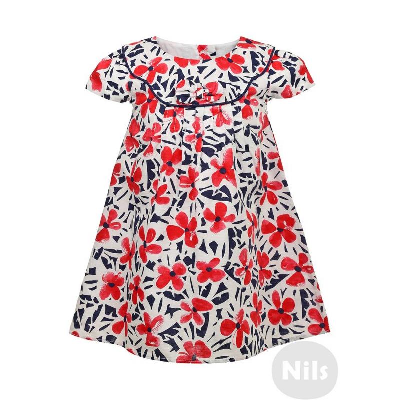 ПлатьеПлатье из хлопка со льном марки BIMBALINA. Платье с коротким рукавом выполнено из хлопка с добавлением льна. Подкладка из тонкого стопроцентного хлопка. Платье украшено складками и бантиком на груди, застегивается на четыре пуговицы на спинке.<br><br>Размер: 9 месяцев<br>Цвет: Темносиний<br>Рост: 74<br>Пол: Для девочки<br>Артикул: 606411<br>Страна производитель: Китай<br>Сезон: Весна/Лето<br>Состав: 50% Лен, 50% Хлопок<br>Состав подкладки: 100% Хлопок<br>Бренд: Испания