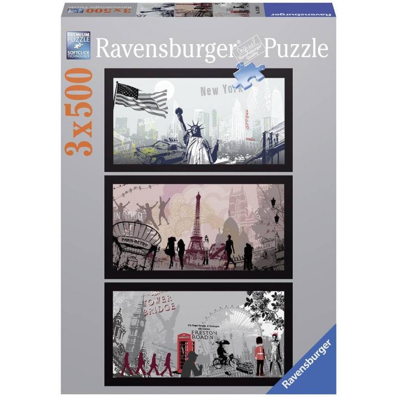 Пазл-триптих Городской стиль 1500 деталейПазл-триптих Городской стиль марки Ravensburger.<br>Яркий пазл-триптих состоит из 3 пазлов по500 элементовс изображениями городских пейзажей.<br>Размер:60х33 см.<br><br>Возраст от: 14 лет<br>Пол: Не указан<br>Артикул: 653920<br>Бренд: Германия<br>Размер: от 14 лет<br>Количество деталей: от 1001 до 2000<br>Тематика: Города
