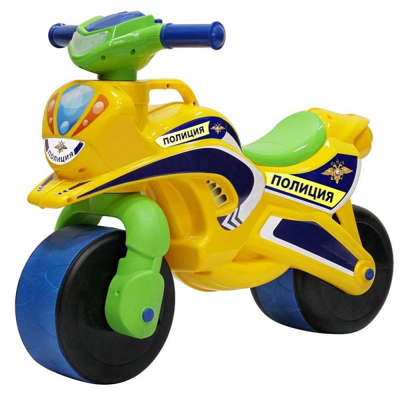 Беговел Motorcycle PoliceБеговелMotorcycle Police желтогоцвета марки RT.<br>Первый беговел для малышей выполнен в ярком цвете и имеет аэродинамические формы, которые оценят стильные родителям и их дети. Благодаря своей удобной конструкции кататься на нем смогут даже самые маленькие дети. Широкие колеса обеспечивают устойчивость и безопасность.<br>Грамотно продуманный угол поворота руля (неполный) дает малышу безопасное маневрирование и безопасно поворачивание, не позволяя беговелу перевернуться. Проходимые колеса предназначены для любых дорог. Модель дополнена удобной ручкой для переноски.<br>Беговел изготовлен из высококачественного и экологического пластика по самым современным европейским технологиям.<br>Максимальная нагрузка: 30 кг;<br>Размер беговела: 67х52х32 см;<br>Вес: 2 кг;<br>Высота сиденья: 31 см;<br>Ширина сиденья: 12 см;<br>Размер упаковки: 70х54х24 см.<br><br>Цвет: Желтый<br>Возраст от: 18 месяцев<br>Пол: Не указан<br>Артикул: 650493<br>Бренд: Россия<br>Размер: от 18 месяцев