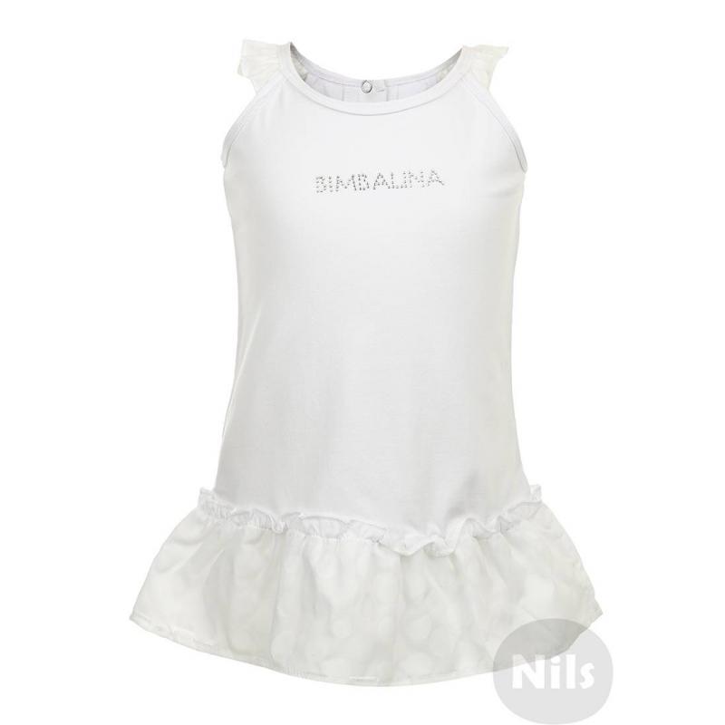 ПлатьеБелое платье на лямках марки BIMBALINA. Платье из мягкого хлопкового трикотажа украшено рюшами на плечиках и на подоле в виде юбочки, рюши сшитыиз материала в горошек. На груди надпись Bimbalina, выполненная стразами. Платье застегивается на две кнопки на спинке.<br><br>Размер: 12 месяцев<br>Цвет: Белый<br>Рост: 80<br>Пол: Для девочки<br>Артикул: 606382<br>Страна производитель: Китай<br>Сезон: Весна/Лето<br>Состав: 96% Хлопок, 4% Спандекс<br>Состав низа: 58% Полиэстер, 42% Хлопок<br>Бренд: Испания
