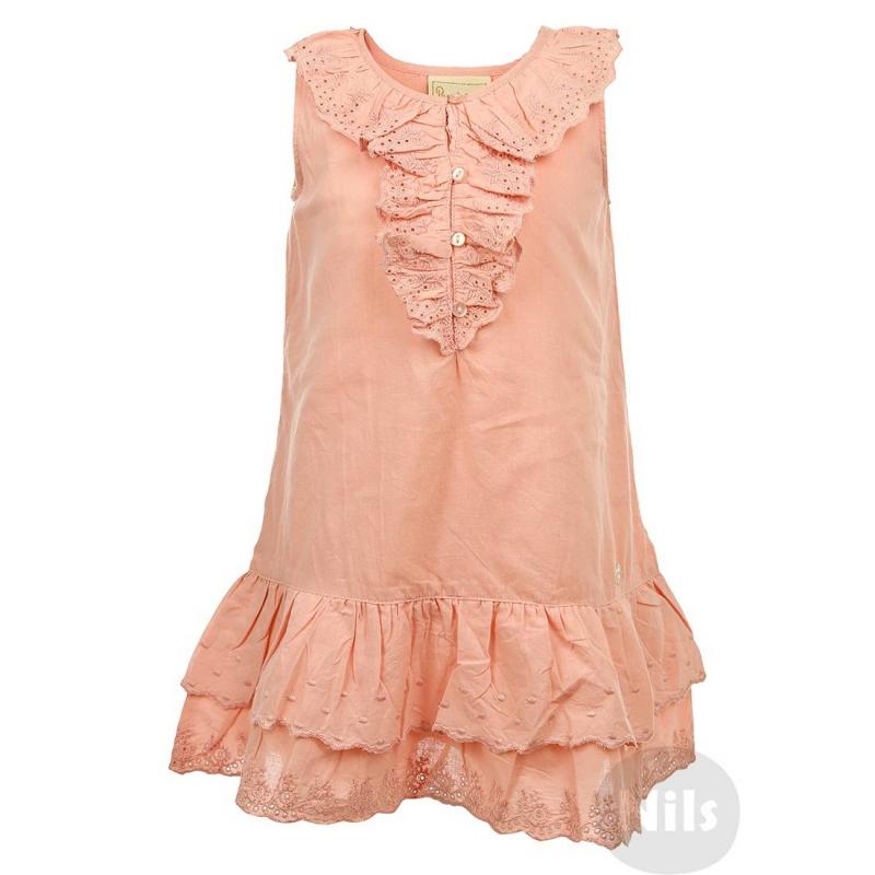 ПлатьеРозовое платье без рукавов марки BIMBALINA. Легкое летнее платье выполнено из стопроцентного хлопка и продублировано хлопковой подкладкой. Ворот и подол украшены кружевными рюшами. Сзади платье присобрано на резиночке на талии. Платье застегивается на пуговицы спереди.<br><br>Размер: 3 года<br>Цвет: Розовый<br>Рост: 98<br>Пол: Для девочки<br>Артикул: 606432<br>Страна производитель: Китай<br>Сезон: Весна/Лето<br>Состав: 100% Хлопок<br>Состав подкладки: 100% Хлопок<br>Бренд: Испания
