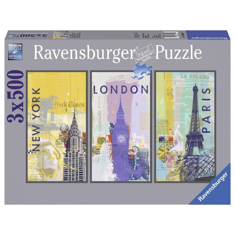 Купить Пазл-триптих Путешествие по миру 1500 деталей, RAVENSBURGER, от 14 лет, Не указан, 653932