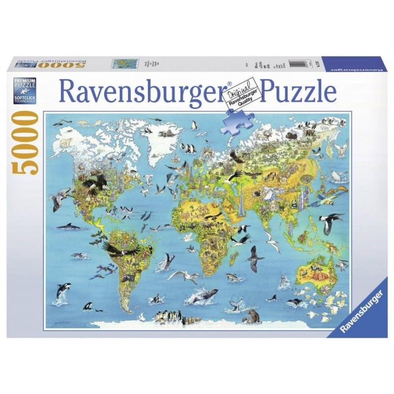 RAVENSBURGER Пазл Карта мира с животными 5000 деталей