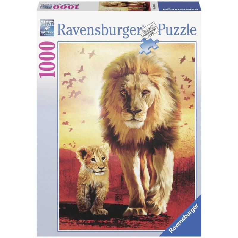 Пазл Первые шагиПазл Первые шаги марки Ravensburger.<br>Яркий пазл из 1000 элементов с изображениемсемейства львов.<br>Размер:70х50 см.<br><br>Возраст от: 11 лет<br>Пол: Не указан<br>Артикул: 653952<br>Бренд: Германия<br>Размер: от 11 лет