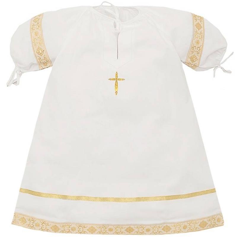 Рубашка крестильнаяРубашкакрестильная золотогоцвета марки Ангел мой.<br>Торжественная рубашечка старорусского кроя выполнена из перкаля - длинноволокнистого мягкого полотна, которое приятно прилегает к коже и не вызывает раздражений. Модель дополнена круглым горлышком и широким подолом с жаккардовой тесьмой, отливающей золотом, а также пышными рукавами на резинке. На горлышке и рукавах рубашки имеются завязки. Вышивка золотойнитью в виде крестика декорирована сверкающими стразами.<br>Состав: перкаль (100% хлопок).<br>Длина:68-70 см.<br><br>Размер: 2 года<br>Цвет: Золотой<br>Рост: 92<br>Пол: Не указан<br>Артикул: 640504<br>Страна производитель: Россия<br>Сезон: Всесезонный<br>Состав: 100% Хлопок<br>Бренд: Россия