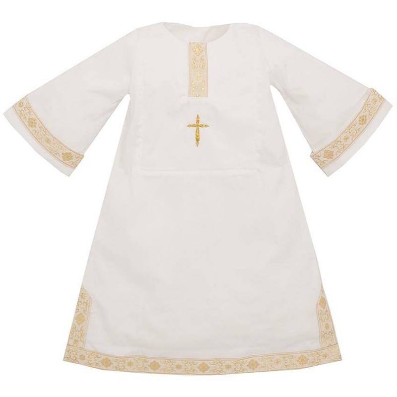 Рубашка крестильнаяРубашкакрестильная бежевогоцвета марки Ангел мой.<br>Сатиноваярубашечка свободного покроя выполнена в старорусском стиле. Рубашка не будет ограничивать движения ребёнка благодаря достаточной ширине длинного подола, свободным рукавам и горловине. Модель украшена вышитым крестиком со стразами, а также самобытным декором в виде золотой жаккардовой тесьмы.<br>Состав: сатин (100% хлопок).<br>Длина:60 см.<br><br>Размер: 12 месяцев<br>Цвет: Бежевый<br>Рост: 80<br>Пол: Не указан<br>Артикул: 640524<br>Страна производитель: Россия<br>Сезон: Всесезонный<br>Состав: 100% Хлопок<br>Бренд: Россия