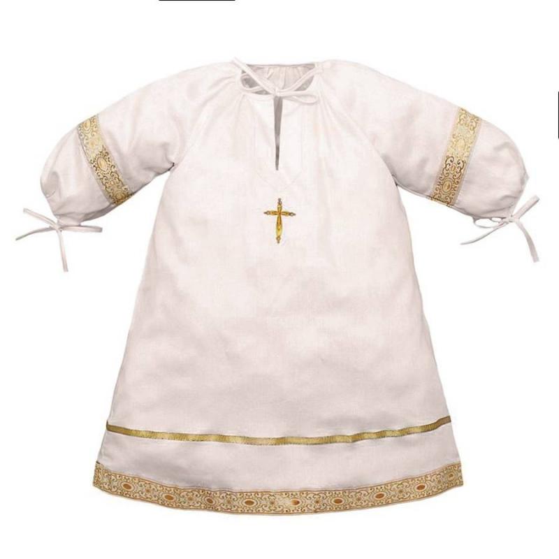 Рубашка крестильнаяРубашкакрестильная бежевогоцвета марки Ангел мой.<br>Торжественная рубашечка старорусского кроя выполнена из натурального сатина. Модель дополнена круглым горлышком и широким подолом с жаккардовой тесьмой, отливающей золотом, а также пышными рукавами на резинке. На горлышке и рукавах рубашки имеются завязки.Вышивка золотойнитью в виде крестика декорирована сверкающими стразами.<br>Состав: сатин(100% хлопок).<br><br>Размер: 12 месяцев<br>Цвет: Бежевый<br>Рост: 80<br>Пол: Не указан<br>Артикул: 640511<br>Страна производитель: Россия<br>Сезон: Всесезонный<br>Состав: 100% Хлопок<br>Бренд: Россия