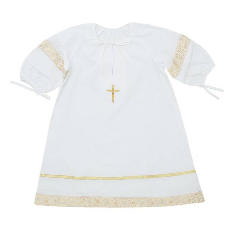 Рубашка крестильнаяРубашкакрестильная золотогоцвета марки Ангел мой.<br>Торжественная рубашечка старорусского кроя выполнена из натурального сатина. Модель дополнена круглым горлышком и широким подолом с жаккардовой тесьмой, отливающей золотом, а также пышными рукавами на резинке. На горлышке и рукавах рубашки имеются завязки. Вышивка золотойнитью в виде крестика декорирована сверкающими стразами.<br>Состав: сатин(100% хлопок).<br><br>Размер: 2 года<br>Цвет: Золотой<br>Рост: 92<br>Пол: Не указан<br>Артикул: 640508<br>Страна производитель: Россия<br>Сезон: Всесезонный<br>Состав: 100% Хлопок<br>Бренд: Россия