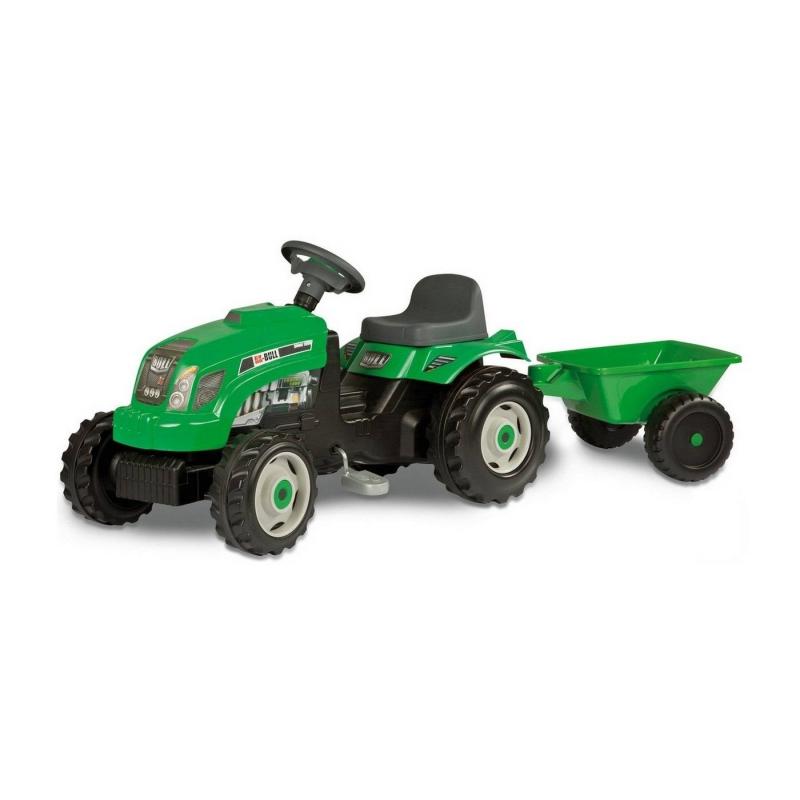 Каталка с педалями Трактор GM BullКаталка с педалями ТракторGM Bull зеленого цветамаркиSmoby.<br>Высокая каталка на педалях выполнена в виде трактора с прицепом. У модели проходимые колеса, удобное сиденье и регулируемый руль. Капот поднимается, как у настоящего трактора. На педальной машине можно весело кататься на даче или играть в песочнице.<br>Размер изделия: 136х56х45см;<br>Размер упаковки: 81,6х40х56,8 см.<br><br>Возраст от: 3 года<br>Пол: Не указан<br>Артикул: 650527<br>Бренд: Франция<br>Размер: от 3 лет