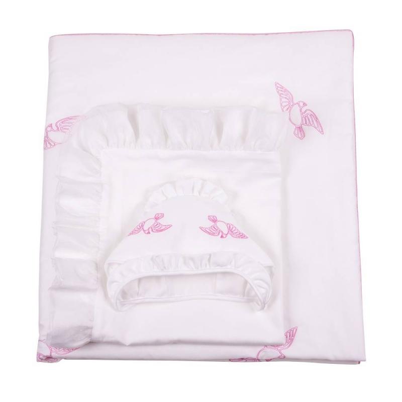 Комплект на выписку Ангел мой 7 предметовКомплект на выписку Ангел мой 7 предметов розовогоцвета марки Ангел мой для девочек.<br>В наборе: одеяло (100х105 см), уголок (95х95 см), пелёнка (80х100 см), шапочка, чепчик с рюшей, распашонка (56 р-р), бант(25х300 см).<br>Комплектвыполнен из натурального сатинав нежных бело-розовых тонах. Элементынабора украшены машинной вышивкой в виде птиц, воздушным кружевом и лентами.Все предметыкомплекта можно стирать в стиральной машине в режиме деликатной стирки.<br>Материал: сатин(100% хлопок).<br><br>Цвет: Розовый<br>Пол: Для девочки<br>Артикул: 640498<br>Страна производитель: Россия<br>Сезон: Всесезонный<br>Состав: 100% Хлопок<br>Бренд: Россия<br>Наполнитель: 100% Шелтер<br>Размер: Без размера