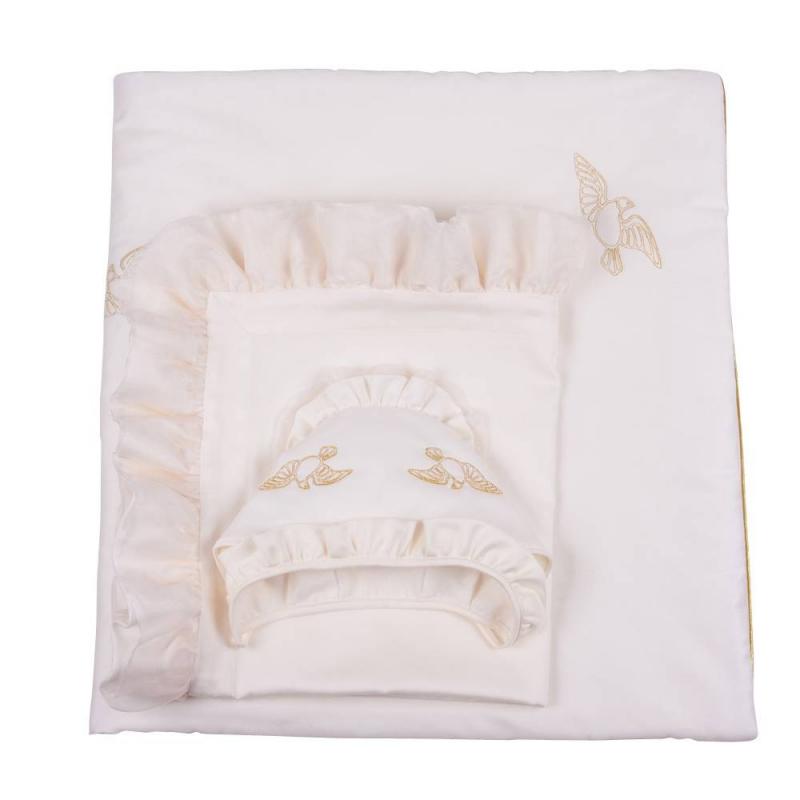 Комплект на выписку Ангел мой 7 предметовКомплект на выписку Ангел мой 7 предметов бежевогоцвета марки Ангел мой.<br>В наборе: одеяло (100х105 см), уголок (95х95 см), пелёнка (80х100 см), шапочка, чепчик с рюшей, распашонка (56 р-р), бант(25х300 см).<br>Комплектвыполнен из натурального сатинав тёплыхтонах. Элементынабора украшены вышивкой золотыми нитками в виде птиц и лентами.Все предметыкомплекта можно стирать в стиральной машине в режиме деликатной стирки.<br>Материал: сатин(100% хлопок).<br><br>Цвет: Бежевый<br>Пол: Не указан<br>Артикул: 640500<br>Страна производитель: Россия<br>Сезон: Всесезонный<br>Состав: 100% Хлопок<br>Бренд: Россия<br>Наполнитель: 100% Шелтер<br>Размер: Без размера