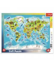 Пазлы Рамка Карта Мира с животными 25 элементов Trefl