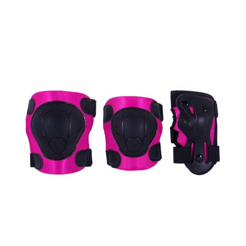 Комплект защиты ArmorКомплект защиты Armor малиновогоцвета марки Ridex.<br>Комплект состоит из защиты на локти, колени и запястье. Изделия с плотным внутренним материалом, удобными застежками липучкой, а также крепкой пластиковой накладкой для безопасности суставов. Защита дополнена регулируемыми ремнями для застегивания.<br>Внешний материал: ПВХ;<br>Внутренний материал: ткань;<br>Размер M - для детей от 5 лет;<br>Размер L - для детей от 7 лет.<br><br>Цвет: Малиновый<br>Размер: Без размера<br>Пол: Для девочки<br>Артикул: 669039<br>Страна производитель: Китай<br>Бренд: Россия