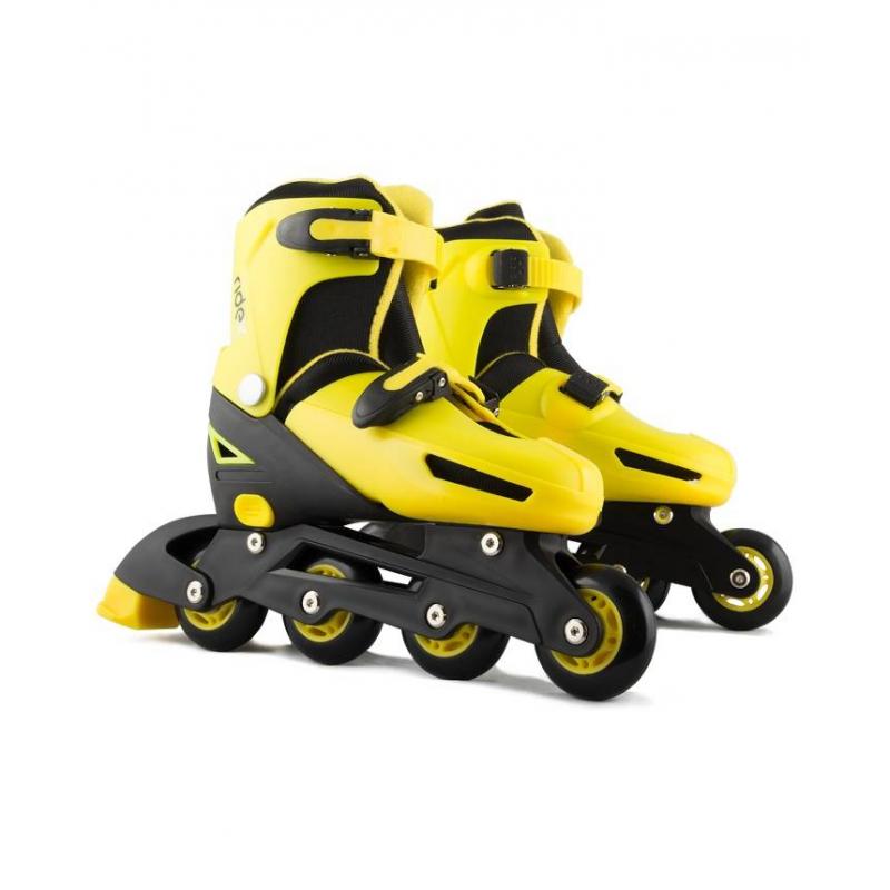 Ролики раздвижные ChampionРолики раздвижные Champion жёлтого цвета маркиRIDEX.<br>Раздвижные ролики позволяют менять размер конька. Модель имеет полностью пластиковую конструкцию внешнего ботинка. Единая конструкция внешнего ботинка и рамы предотвращает возможные подвывихи голеностопного сустава. Ролики оснащены простыми подшипниками, но имеют автоматическую систему раздвижения.Характеристики:- Внешний ботинок: пластик;- Внутренний ботинок: ткань, пенополиуретан;- Механизм застегивания: бакля пластиковая с клипсой;- Система раздвижки: автомат;- Рама: пластик;- Подшипники: 608Z;- Материал колеса: ПВХ;<br>- Упаковка: удобная сумка с ручкой.<br><br>Цвет: Желтый<br>Размер роликов: 31-34<br>Пол: Не указан<br>Артикул: 669067<br>Страна производитель: Китай<br>Бренд: Россия<br>Размер: Без размера