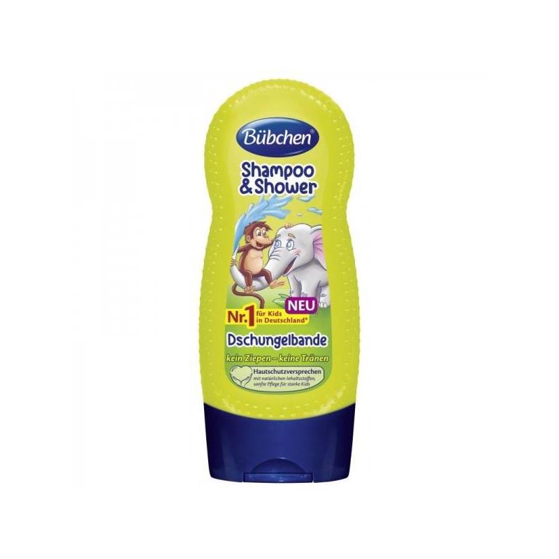 Шампунь для волос и тела Зов джунглей 230 млШампунь для волос и тела Зов джунглей 230 мл. марки Bubchen.<br>Для нежного очищения волос и кожи. С таинственным запахом тропического леса после дождя. Совмещает в себе шампунь для мытья волос и гель для тела. Мягко удаляет загрязнения, питает волосы и кожу. Укрепляет волосы, облегчает их расчесывание и придает естественный шелковистый блеск. Формула без слез.<br>Объем: 230 мл.<br><br>Возраст от: 3 года<br>Пол: Не указан<br>Артикул: 648807<br>Бренд: Германия<br>Размер: от 3 лет