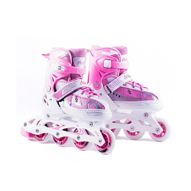 Ролики раздвижные CloudyРолики раздвижные Cloudy розовогоцветамаркиRIDEX для девочек.<br>Раздвижные ролики позволяют менять размер конька. Внешний ботинок выполнен из пластика и ткани, что делает его комфортным и мягким.Характеристики:- Внешний ботинок: пластик, ПВХ, ткань;- Внутренний ботинок: ткань, пенополиуретан;- Механизм застегивания: шнурки, липучка, бакля пластиковая с клипсой;- Система раздвижки: автомат;- Рама: пластик;- Подшипники: АВЕС-5;- Материал колеса: полиуретан;<br>- Упаковка: удобная сумка с ручкой.<br><br>Цвет: Розовый<br>Размер роликов: 34-37<br>Пол: Для девочки<br>Артикул: 669071<br>Страна производитель: Китай<br>Бренд: Россия<br>Размер: Без размера