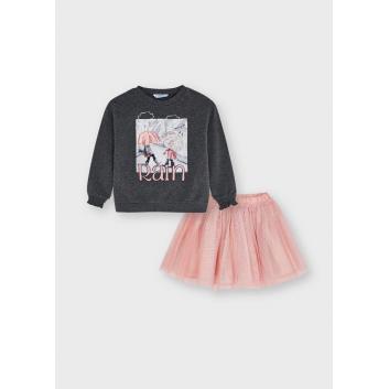 Девочки, Комплект джемпер и юбка MAYORAL (розовый)519869, фото