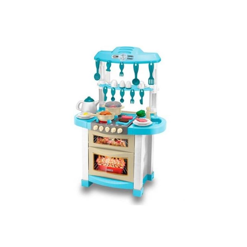 Электронная кухня ZanussiЭлектронная кухнясерии Zanussiмарки HTI.<br>Электронная кухня со световыми и звуковыми эффектами дополнена раковиной, а также удобным столиком. Модель с открывающейся духовкой, полочками и имитацией часов. В комплекте: посуда, продукты.<br>Для работы требуются батарейки: 3 x AA (не входят в комплект).<br><br>Возраст от: 3 года<br>Пол: Для девочки<br>Артикул: 667071<br>Бренд: Англия<br>Размер: от 3 лет