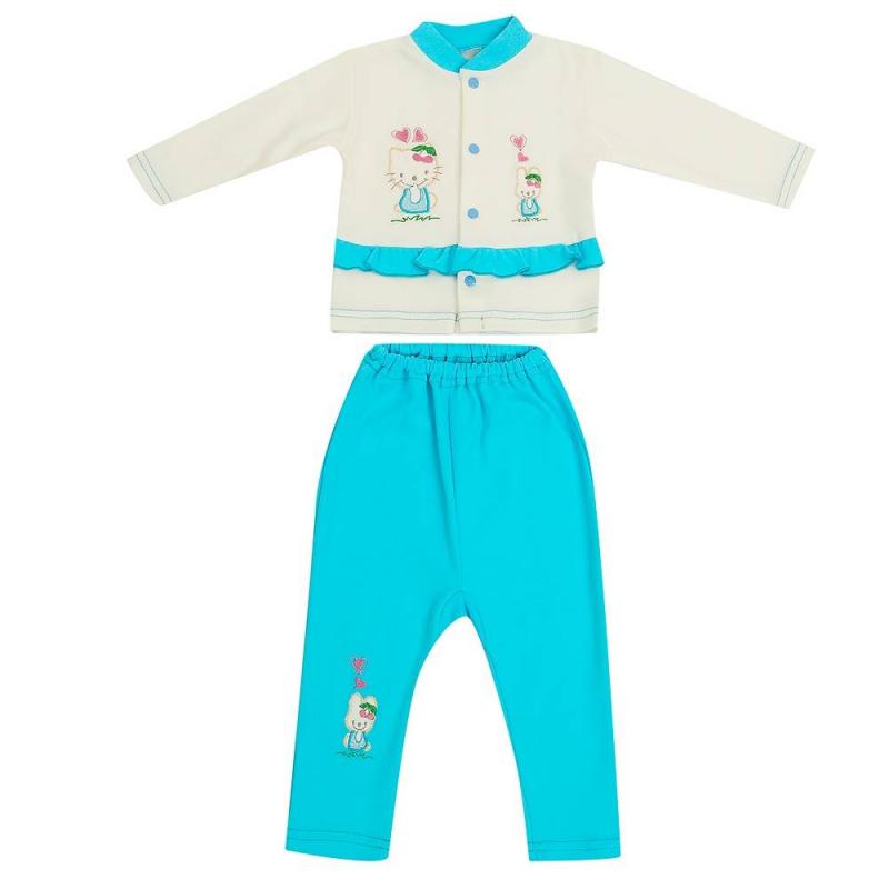 Комплект 2 пр.Комплект кофточка + брюки голубогоцвета марки Фрешстайл для девочек.<br>Комплект выполнен из мягкого хлопкового трикотажа. Кофточка молочного цвета с длинным рукавом застёгивается на кнопки спереди. Модель украшена вышивкой и милыми рюшами. Однотонные брючки розового цвета также декорированы вышивкой и дополнены удобной резинкой на поясе.<br><br>Размер: 9 месяцев<br>Цвет: Голубой<br>Рост: 74<br>Пол: Для девочки<br>Артикул: 647600<br>Страна производитель: Россия<br>Сезон: Всесезонный<br>Состав: 100% Хлопок<br>Бренд: Россия<br>Вид застежки: Кнопки